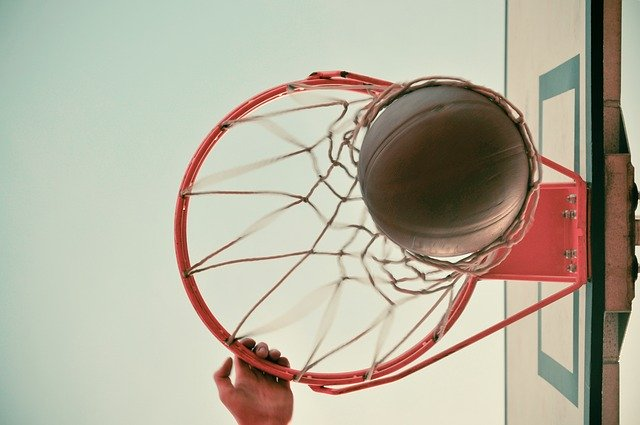 A close up of a basketball game